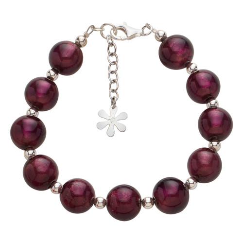 Valentina Murano Glass Ball Bracelet Dark Amethyst