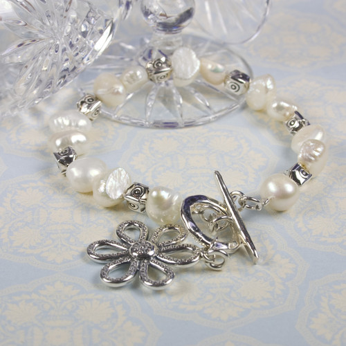 Pearl and silver flower bracelet