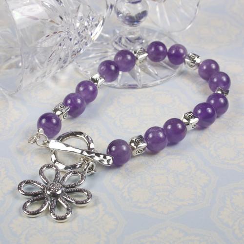 Amethyst and Silver Flower Bracelet