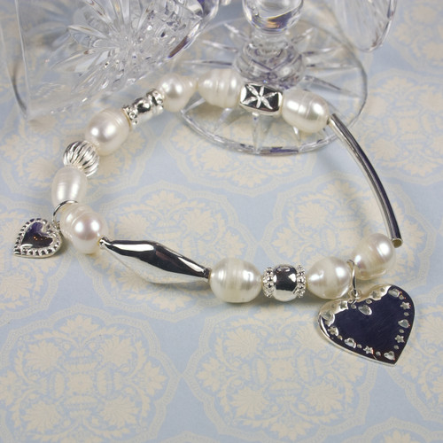 Pearl and Silver Charm Bracelet