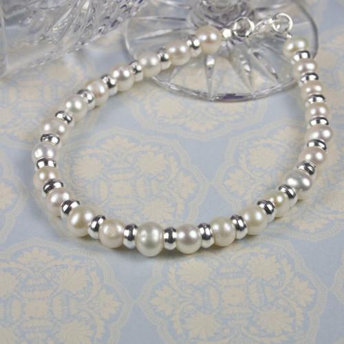 Silver White Pearl Bracelet for Women