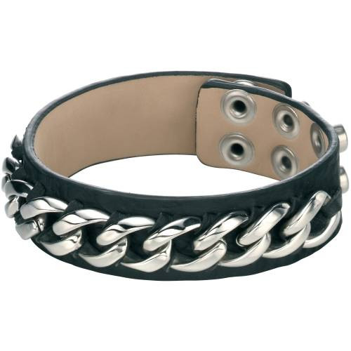 Fred Bennett Black Leather Cuff Bracelet