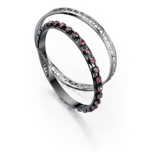 Fiorelli Bangle Set Pink and Gunmetal - Fiorelli Costume Jewellery