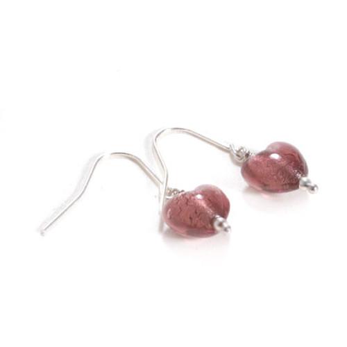 Murano Glass Heart Earrings