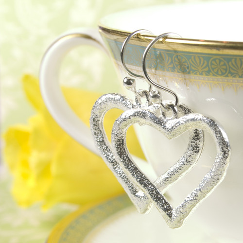 Aasta Silver Heart Earrings for Women
