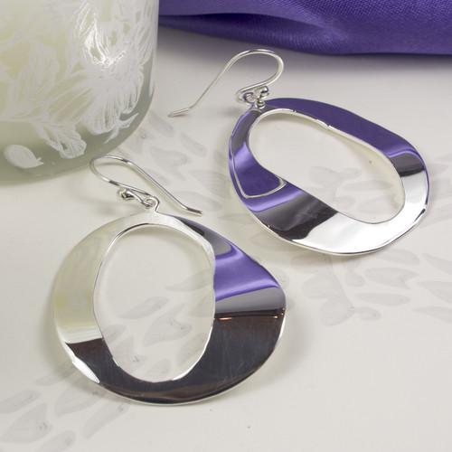 Large Silver Oval Earrings for Women