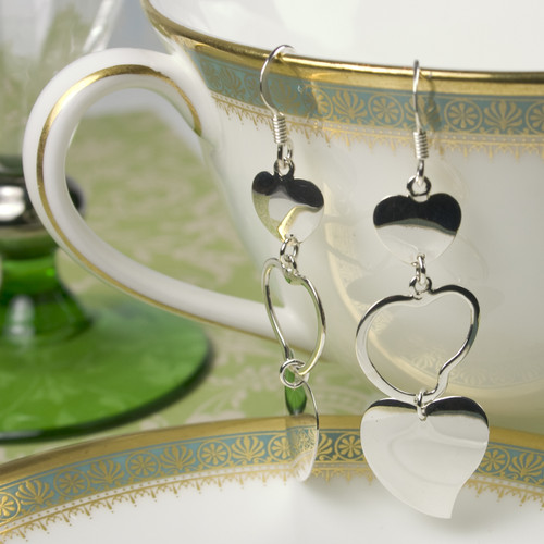 Silver Three Heart Earrings