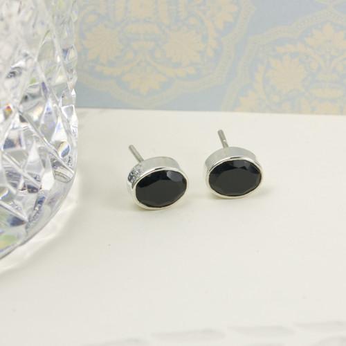 Silver Oval Earrings Onyx