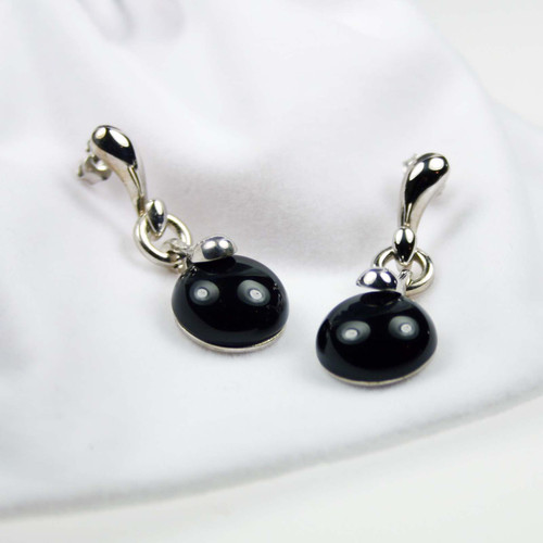 Round Onyx Rhodium Plated Silver Earrings