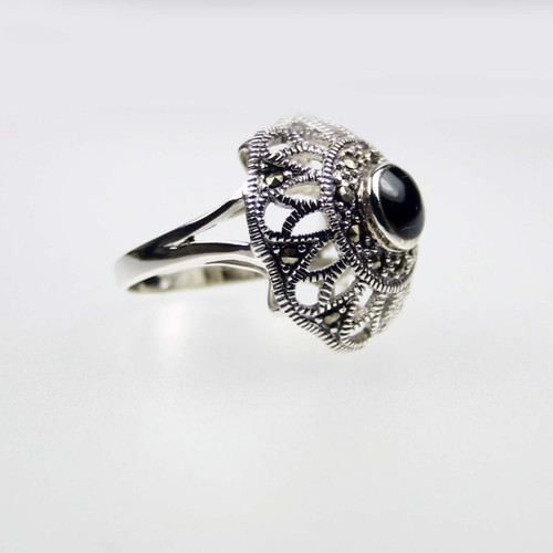 Large Onyx Marcasite Silver Ring