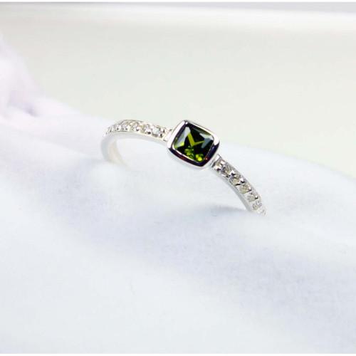 Olivine Zirconia Silver Ring