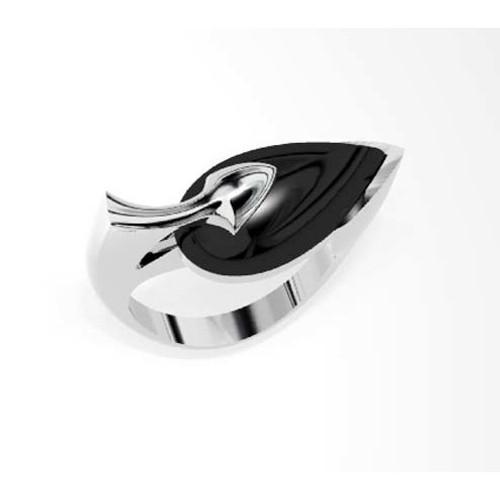 Onyx Teardrop Silver Ring