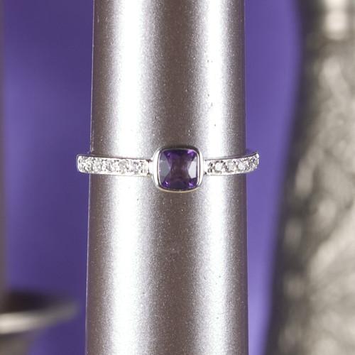 Amethyst Zirconia Silver Ring