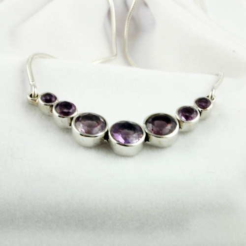 Amethyst Silver Cluster Necklace for Women