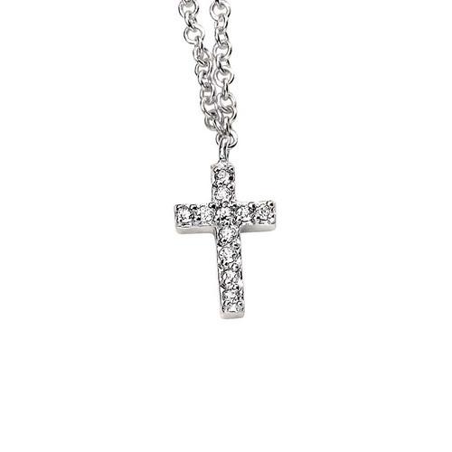 Zirconia Cross Silver Necklace