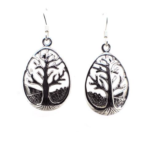 Tree of Life Silver Drop Earrings