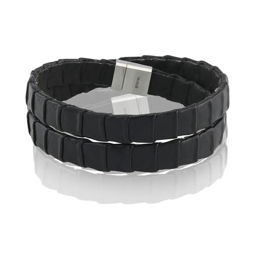 Sif Jakobs Montale Lungo Men's Black Leather Bracelet