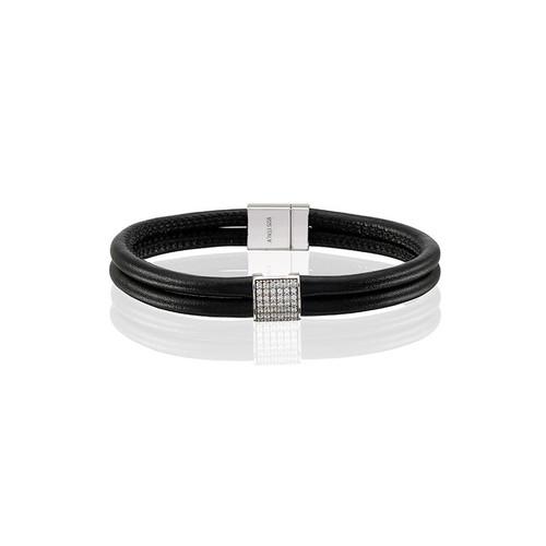 Sif Jakobs Modena Quadrato Black Leather & Zirconia Bracelet
