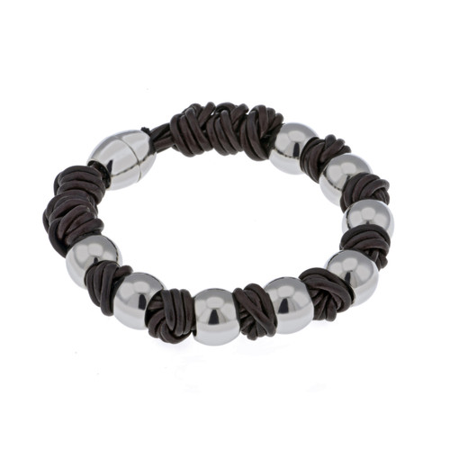 Gaventa Men's Brown Leather and Steel Bracelet