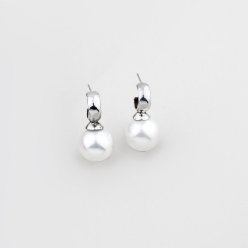 Miglio Lustrous White Shell Pearl Drop Earrings