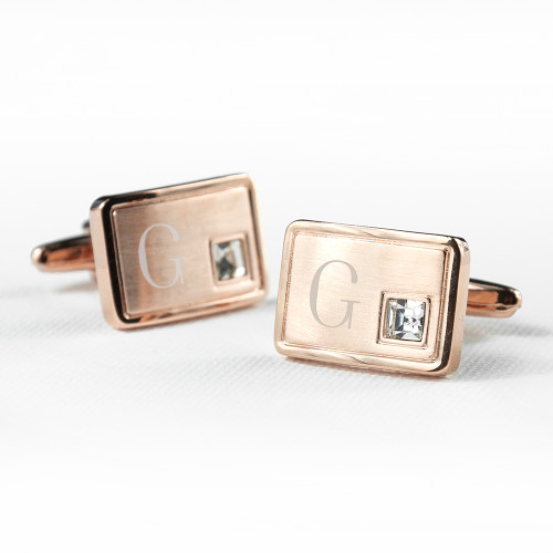 Rose Gold Plated Cufflinks with Crystal - 1