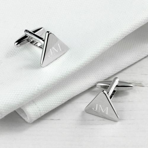 Rhodium Plated Triangle Cufflinks - 1