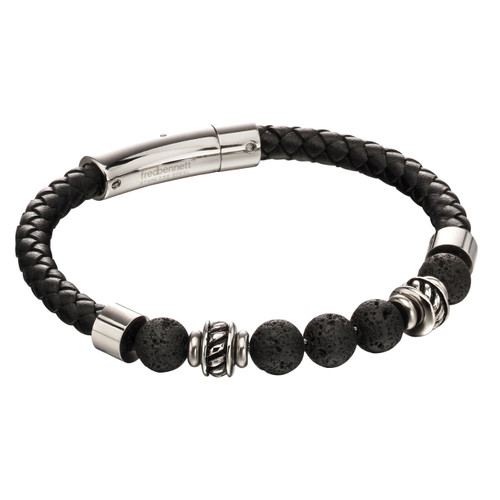 Fred Bennett Lava Stones and Leather Bracelet