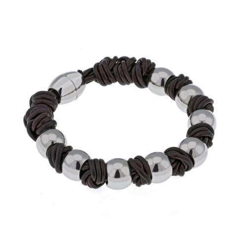 Gaventa Men's Brown Leather and Steel Bracelet