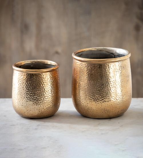 Hammered Brass Effect Pot