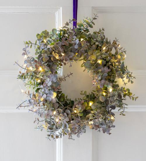 Everlasting Eucalyptus Wreath and Lights Set