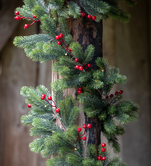 Pine and Berry Garland with Lights