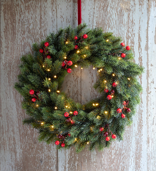 Pine and Berry Wreath with Lights