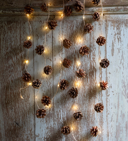 Super-long Pinecone and Jute Garland with Lights