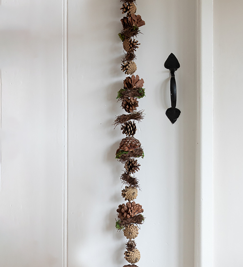 Natural Pinecone Garland with Moss