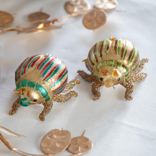 Glittered Multicolour Glass Beetles