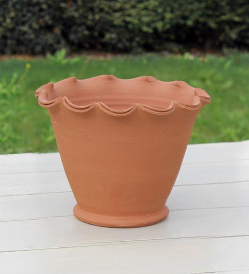 Terracotta Scalloped Pots & Saucers