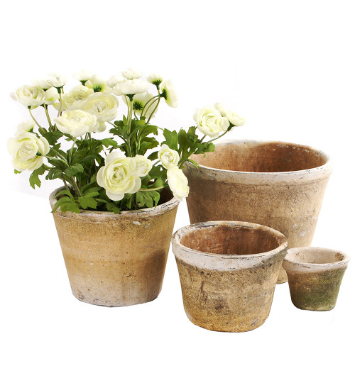 Antiqued Whitestone Pots and Saucers