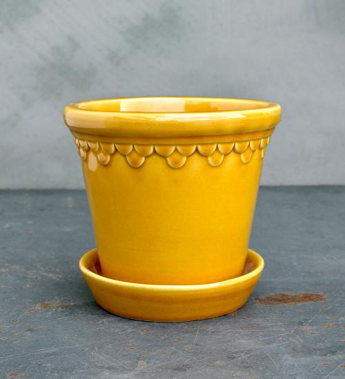 Yellow Copenhagen Pot and Saucer Set