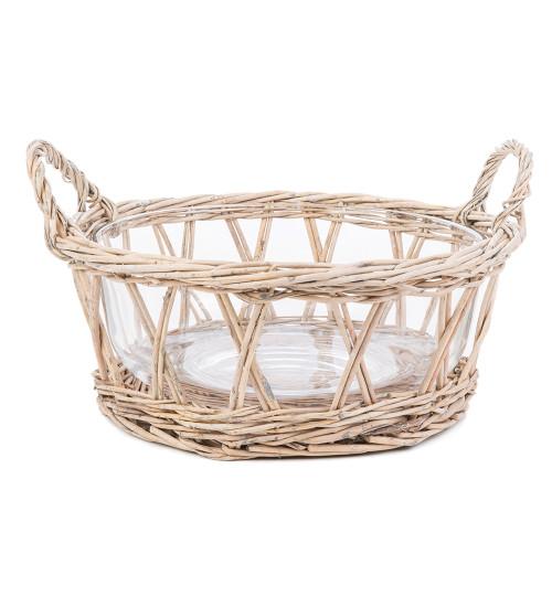 Glass Bowl with Wicker Surround