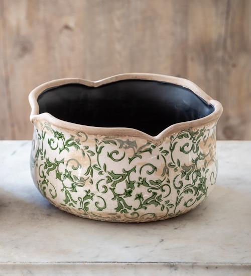 Wavy Edged Green Ceramic Bowls