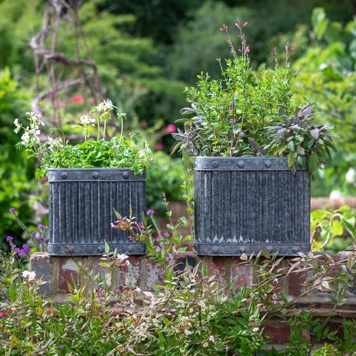 Ribbed Square Zinc Planters