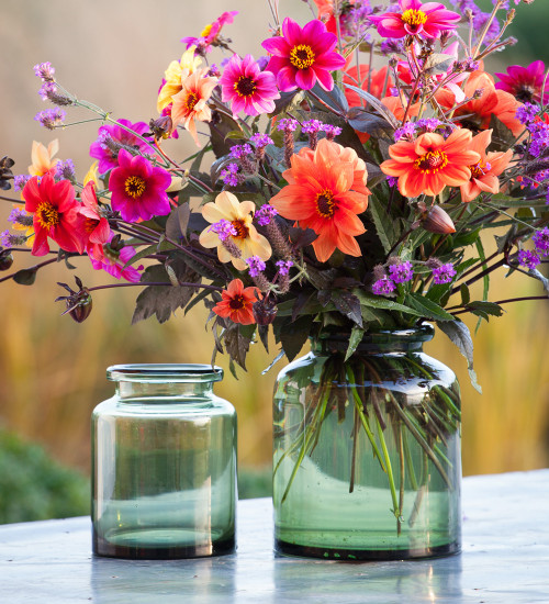 Green Glass Jar Vase