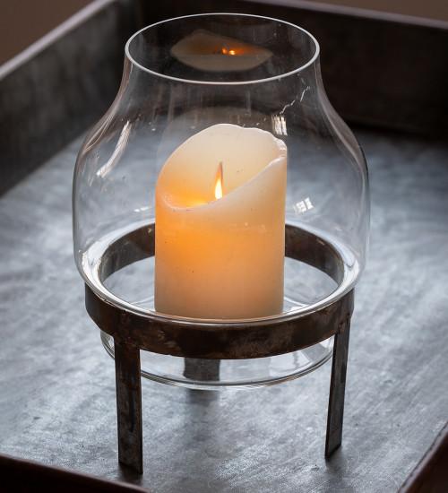 Glass Vase on Rustic Metal Foot