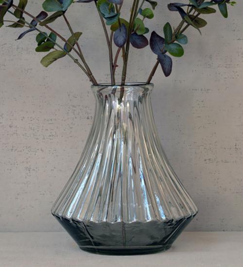 Glass Ribbed Vase