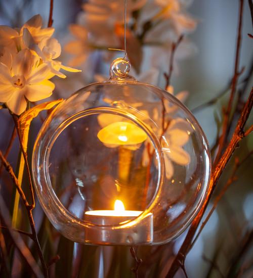 Glass Bauble Tealight Holder