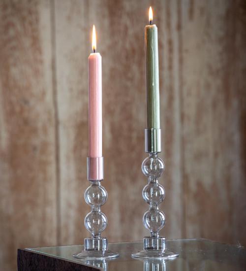 Smokey Grey Glass Candlesticks