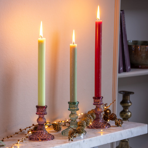 Amethyst Glass Candlestick