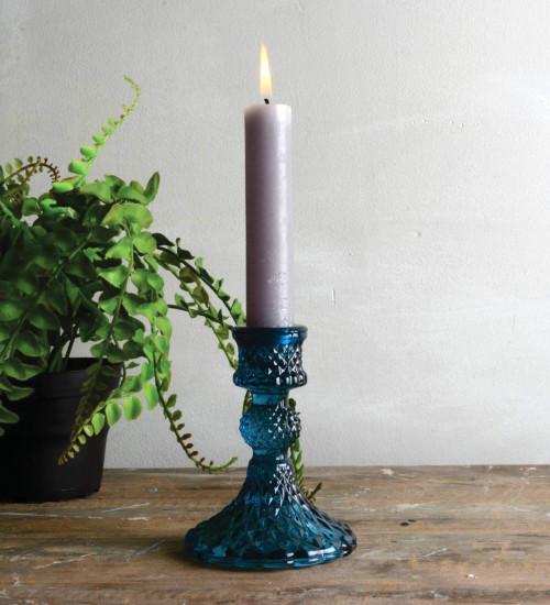 Blue Glass Candlestick
