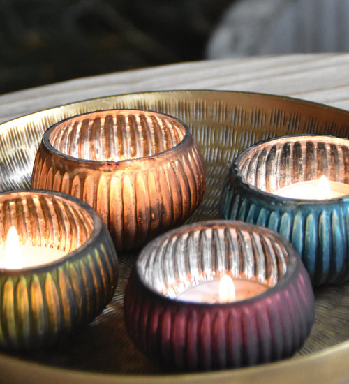 Ribbed Tealight Holders