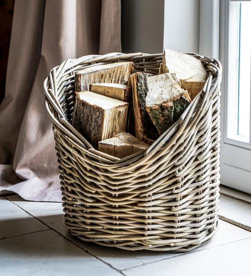 Oval Wicker Log Basket